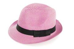 Pink summer panama straw on white Royalty Free Stock Image