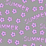 Pink summer pattern for background or package. Seasons concept with flowers. stock image