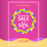 Pink summer Sale Poster Royalty Free Stock Photo