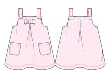 Pink sundress with polka-dot pattern. Front and back view of a sundress with polka-dot pattern stock illustration