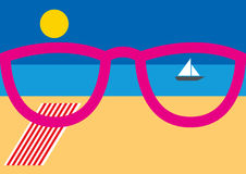 Pink sunglasses by the beach. Relaxing picture with pink sunglasses by the beach with striped towel and sail boat in sunny weather with a clear blue sky and copy Stock Photography