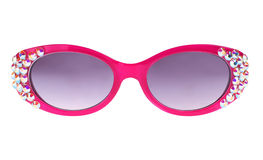 Pink Sunglasses. Front of Pink Fashion Sunglasses with Rhinestone Bling Isolated on White Stock Image