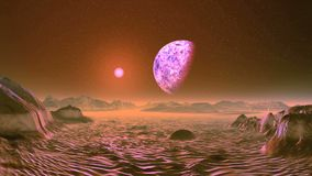 Pink sunrise on alien planet. A large planet moon slowly rotates on a dark starry sky. Over the misty horizon, a bright pink sun rises rapidly. Desert and rocks vector illustration