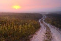 Pink sunrise. Cold summer morning in Ukraine Stock Photo