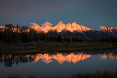 Pink Sunrise on Grand Tetons Royalty Free Stock Photos