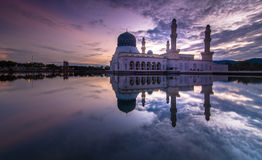 Pink Sunrise Kota LIkas Mosque Sabah Malaysia. This is floating mosque at borneo sabah during sunrise stock photography