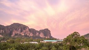 Pink Sunrise at Limestone Mountain Tropical Area Timelapse. Khao Sok, Thailand. Shot with a Sony a6300 fps29,97 4k stock footage