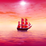 Pink sunrise. Lonely sailing ship Royalty Free Stock Photography