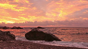 Pink sunrise over the Black Sea in the Crimea stock footage