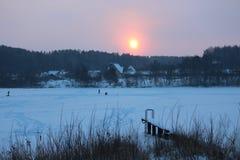 Pink Sunrise Over Frozen Lake. Stock Image