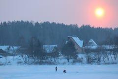 Pink Sunrise Over Frozen Lake. Royalty Free Stock Image
