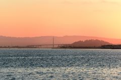 Sunrise over San Francisco Bay, California, USA stock photo