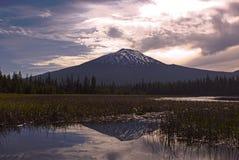 Pink Sunrise and Reflections at Hosmer Lake stock photography