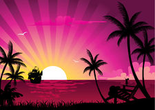 Pink sunset. And palms, vector illustration Stock Images
