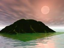 Pink Sunset. Island and pink sunset Stock Photo