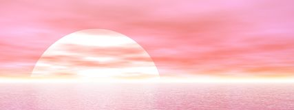 Pink sunset - 3D render Royalty Free Stock Photos
