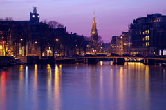 Pink sunset in Amsterdam royalty free stock photo