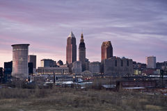 Pink sunset in Cleveland. Pink sunset in Downtown Cleveland royalty free stock photo