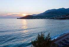 Pink sunset and coastline (Albania) Royalty Free Stock Photo