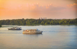 Pink sunset on the Dnieper River Stock Photos