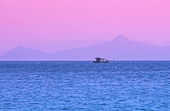 Pink sunset in Greece Royalty Free Stock Images