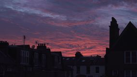 Pink sunset in London stock footage