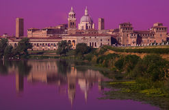 Pink sunset on Mantua town in Lombardy Royalty Free Stock Photos
