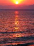 Pink sunset in mediterranean sea Royalty Free Stock Photos