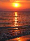 Pink sunset in mediterranean sea Stock Photo