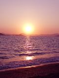 Pink sunset in mediterranean sea Royalty Free Stock Photo