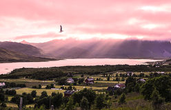 Pink sunset in the mountains. Aerial view on the village, sea bay and mountains. A bird soars over the rural town. The rays of the setting sun breaking through Stock Photo