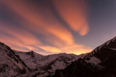 Pink sunset in the mountains, Nepal, Himalaya, Tilicho Base Camp