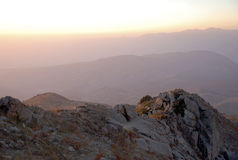 Pink sunset in the mountains of Tien Shan Royalty Free Stock Image