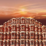Pink sunset. Over pink city. Jaipur. India royalty free stock image