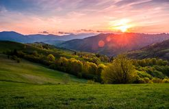 Pink sunset over the mountains in springtime. Gorgeous Carpathian countryside. beautiful rural scene with agricultural fields on rolling hills Stock Photos