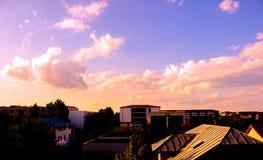 Pink sunset over neighbourhood Stock Image
