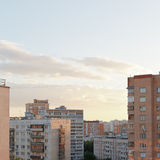 Pink sunset over residential quarter Stock Photo