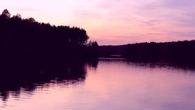 Pink sunset over the river. Pink sky reflected in the calm river water. The shore with close growing trees stock footage