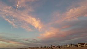 Pink sunset panning sky 360 view 4k stock footage