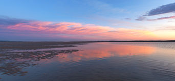 Pink sunset panorama of Inverloch foreshore beach, Gippsland, Au royalty free stock image