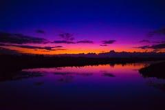 Pink sunset. Sunset reflection purple blue evening Royalty Free Stock Images