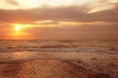 Pink sunset at sea Stock Image