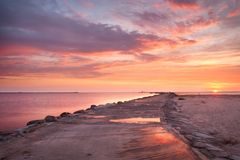 Pink sunset. In the sea royalty free stock images