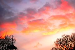Pink sunset sky pretty colors stock photo