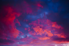 Pink sunset or sunrise with beautiful clouds Stock Photos