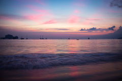 Pink Sunset. Sunset at West Railay Beach in Thailand Royalty Free Stock Photo