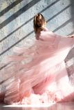 Pink swan dress, frozen moment royalty free stock images