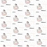 Pink swan seamless white pattern. Stock Photo