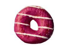 Pink sweet Donut isolated. On white stock photography