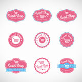 Pink Sweet shop and shopping cart banner vector vintage logo Royalty Free Stock Photography